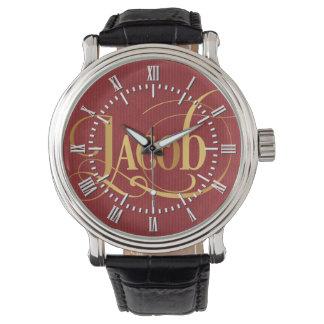 赤の原稿のヤコブの名前入りで渦巻形のな金ゴールド 腕時計