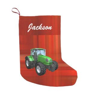赤の名前入りでモダンな緑のトラクター スモールクリスマスストッキング