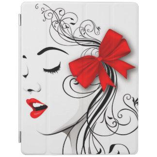 赤の女の子が付いているiPad 2/3/4の頭が切れるなカバー! iPadスマートカバー