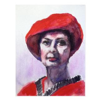 赤の女性 葉書き