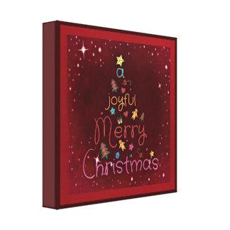 赤の嬉しいメリークリスマスの挨拶 キャンバスプリント