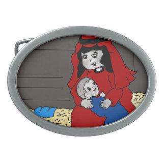 赤の小さいメリーおよびベビーイエス・キリスト 卵形バックル