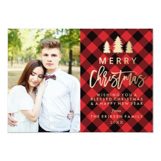 赤の居心地のよい格子縞の休日の写真カード カード