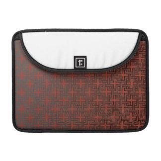 赤の平方された正方形の黒 MacBook PROスリーブ