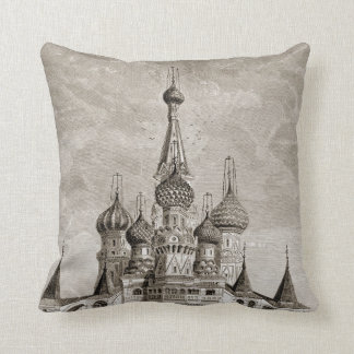 赤の広場のカテドラルのモスクワのタマネギのドームの版木、銅版、版画 クッション