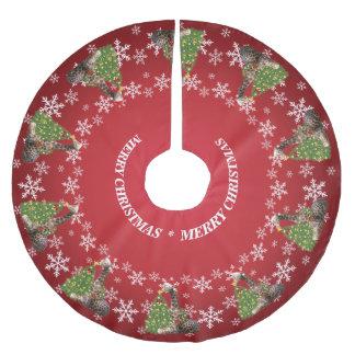 赤の愛らしく風変わりなクリスマスのキリン ブラッシュドポリエステルツリースカート