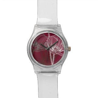 赤の手描きのケシ 腕時計