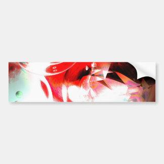 赤の抽象的なデジタル芸術 バンパーステッカー