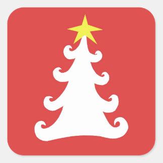 赤の抽象的なホワイトクリスマスの木 スクエアシール