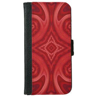 赤の抽象的な木製パターン iPhone 6/6S ウォレットケース