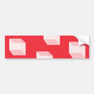 赤の抽象的な正方形 バンパーステッカー