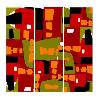 赤の抽象芸術の無秩序 トリプティカ
