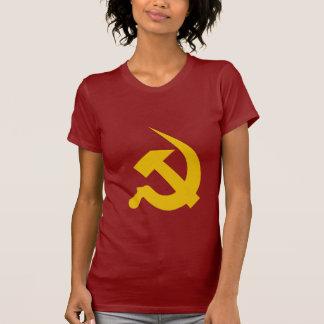 赤の新厚く暗く黄色いハンマー及び鎌 Tシャツ