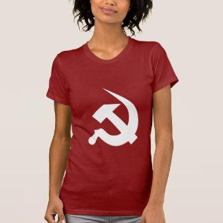 赤の新厚く白いハンマー及び鎌 Tシャツ