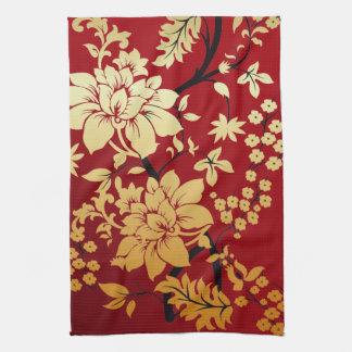 赤の東洋の金花 キッチンタオル