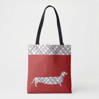 赤の格子縞のダックスフント トートバッグ