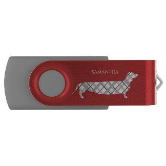 赤の格子縞のダックスフント USBフラッシュドライブ