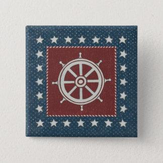 赤の沿岸芸術 の船の車輪 5.1CM 正方形バッジ