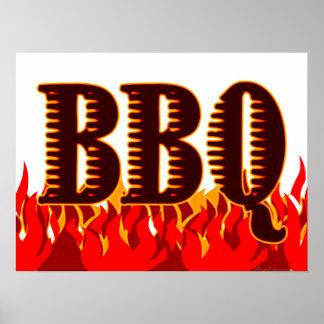 赤の炎BBQの芸術のプリント ポスター