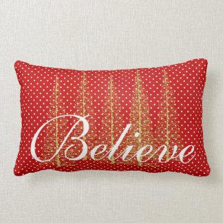 赤の点のクリスマスのLumbarの装飾用クッションで信じて下さい ランバークッション