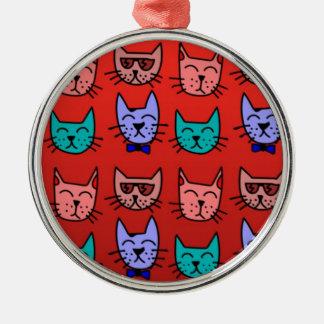 赤の猫の顔 メタルオーナメント