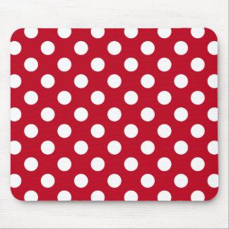 赤の白い水玉模様 マウスパッド