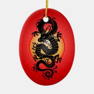 赤の破烈の中国人のドラゴン セラミックオーナメント
