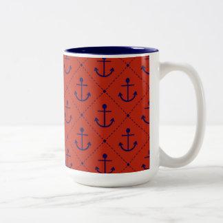 赤の航海ので青いいかり ツートーンマグカップ