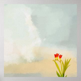 赤の花束によってはポスターが開花します ポスター