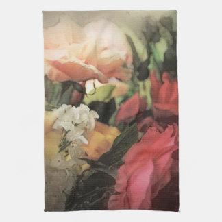 赤の芸術の花のヴィンテージの鮮やかな背景 キッチンタオル