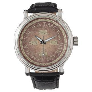 赤の茶時間金ゴールド 腕時計