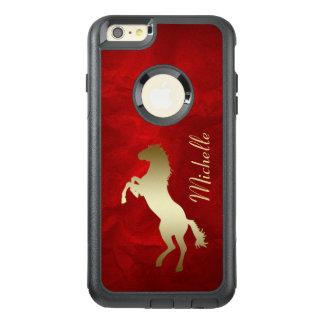 赤の金ゴールドのシルエットの馬 オッターボックスiPhone 6/6S PLUSケース