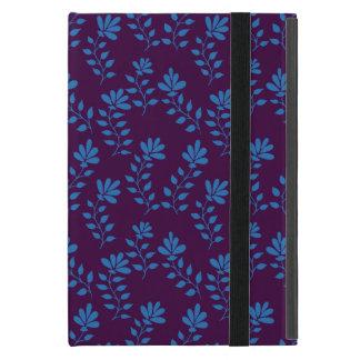 赤の青い手描きの花の枝パターン iPad MINI ケース