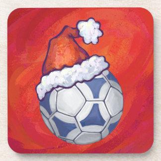 赤の青および白いお祝いのサッカーボール コースター