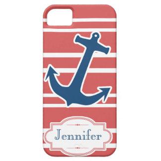 赤の青く航海のないかりはiPhoneの箱を縞で飾ります iPhone SE/5/5s ケース