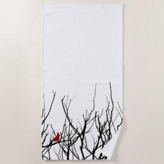 赤の鳥の~のレスリーのコショウ ビーチタオル