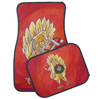 赤の鶏のクリスマス カーマット