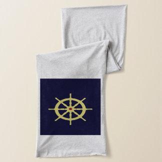 赤の黄色い船の車輪 スカーフ
