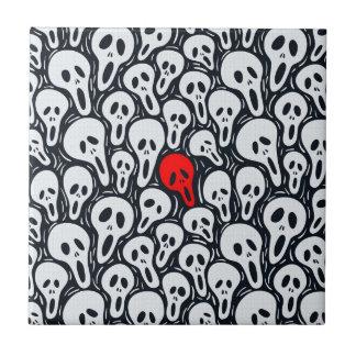 赤の黒く及び白いスカルパターンTouch タイル