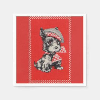 赤の50年代のスコッチテリア犬 スタンダードカクテルナプキン
