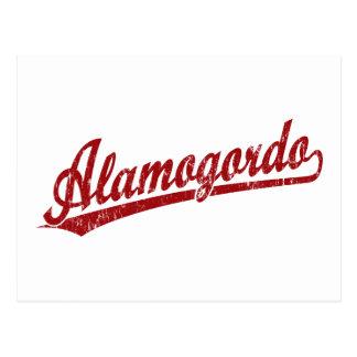 赤のAlamogordoの原稿のロゴ ポストカード