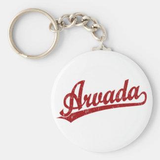 赤のArvadaの原稿のロゴ キーホルダー