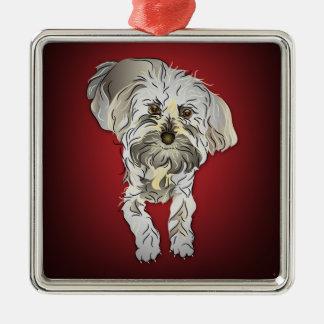 赤のMaltipooの子犬 メタルオーナメント