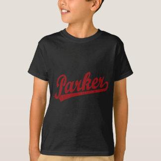赤のParkerの原稿のロゴ Tシャツ