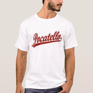 赤のPocatelloの原稿のロゴ Tシャツ