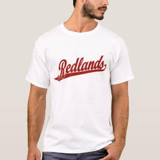 赤のRedlandsの原稿のロゴ Tシャツ