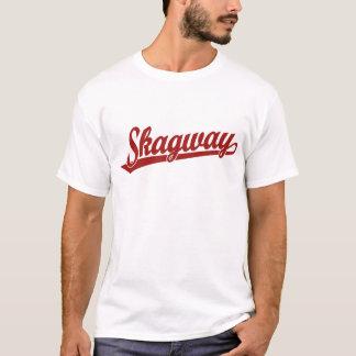 赤のSkagwayの原稿のロゴ Tシャツ
