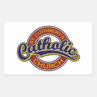 赤のSt Cuthbertのカトリック教会の青 長方形シール