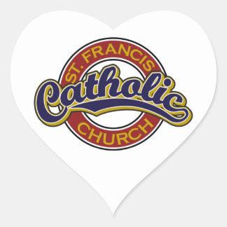 赤のSt Francisのカトリック教会の青 ハートシール