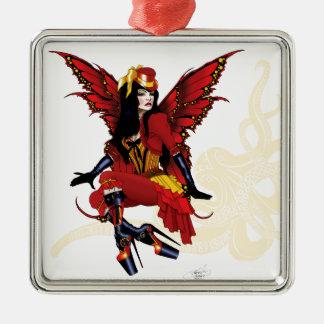 赤のSteampunkの妖精すべて メタルオーナメント